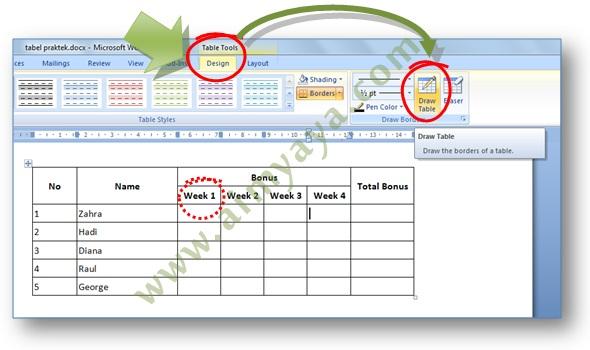 Gambar: Cara mengakses tombol Draw Table di Microsoft Word 2007 untuk membagi kolom menjadi dua