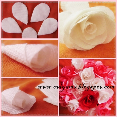 How to make rose flower with tissue paper boatremyeaton how to make rose flower with tissue paper oviyam glass painting art crafts tissue paper roses mightylinksfo