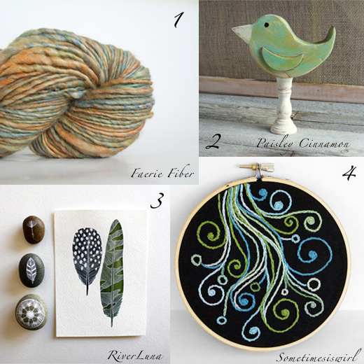 Artisanal wool, wood bird, plume illustration, embroidery- selection by Chez Violette