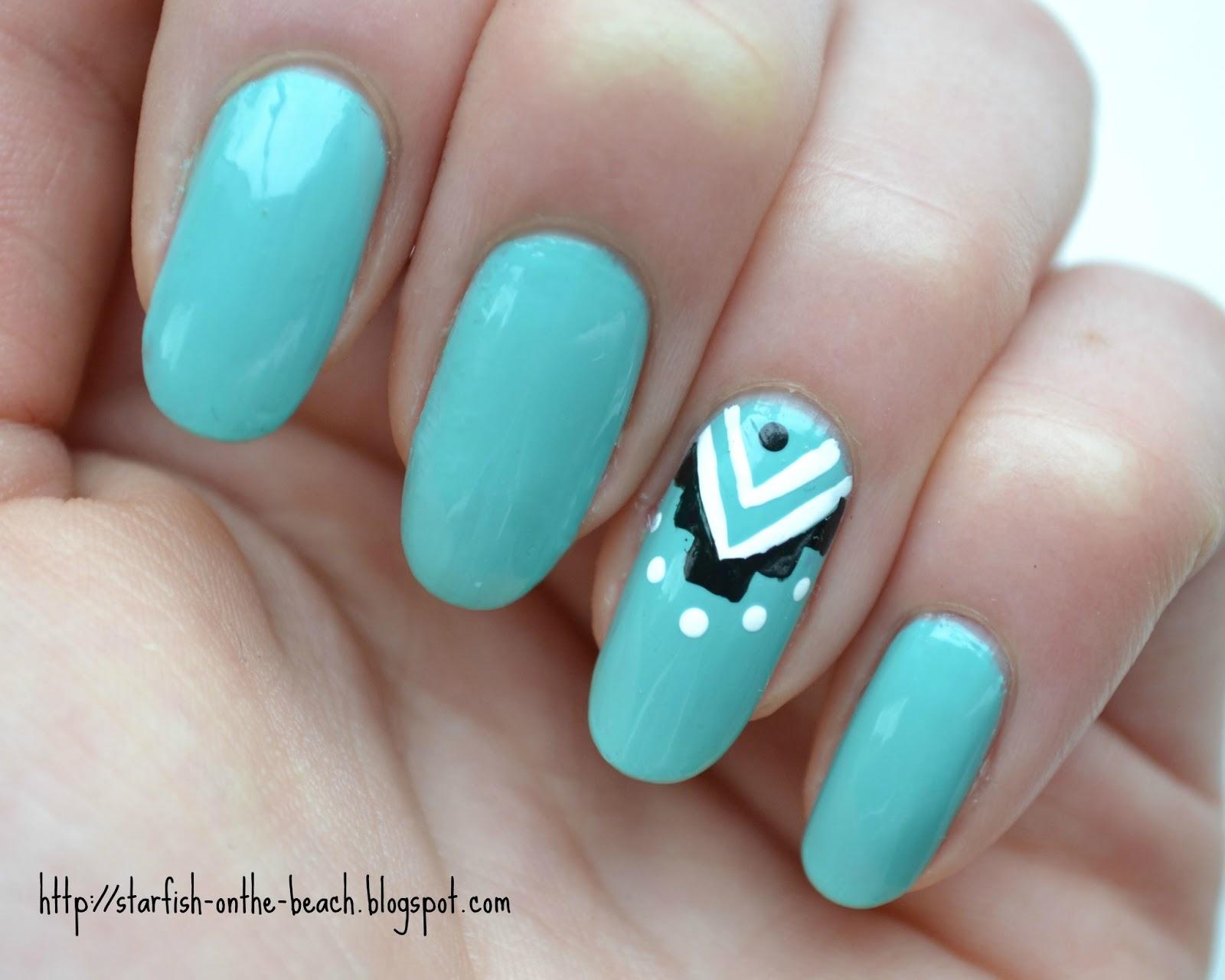 Teal Acrylic Nails Aztec nails