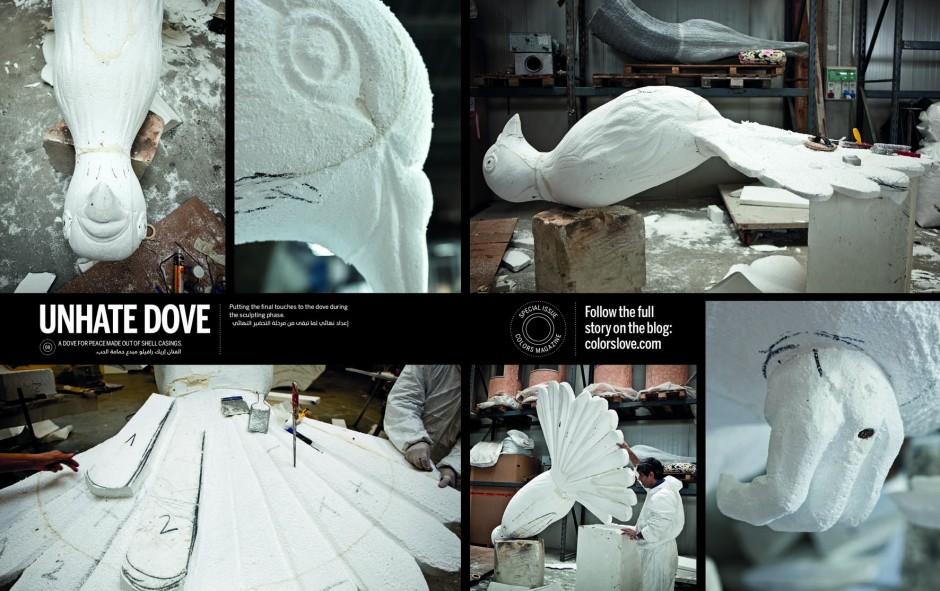 univers de Nawras: Benetton offre une colombe en 22 000 douilles aux
