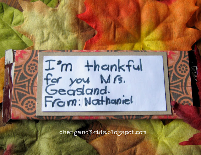 Thanksgiving Teacher Gift -- Hershey's Chocolate Bar with DIY wrapper