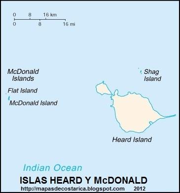 Mapa de las islas Heard y McDonald