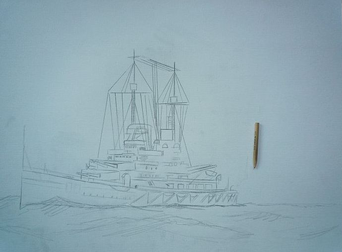 primera version oleo del barco de guerra Alemán SMS Lutzow