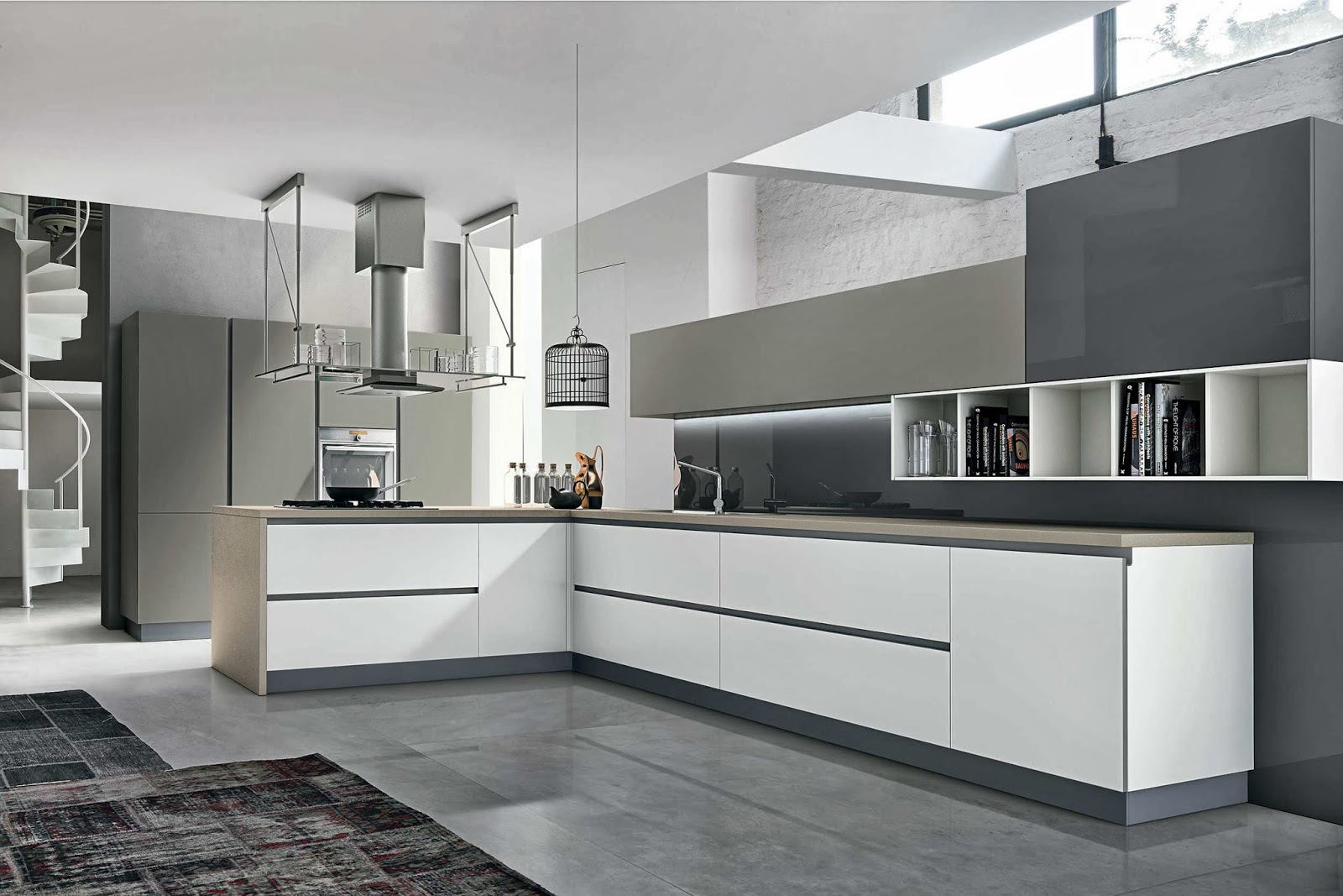 Cuisine design blanc et taupe for Cuisines contemporaines design