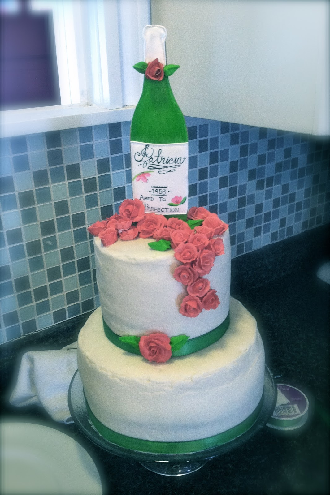 The Painted Pastry 60th Birthday Wine Bottle Cake