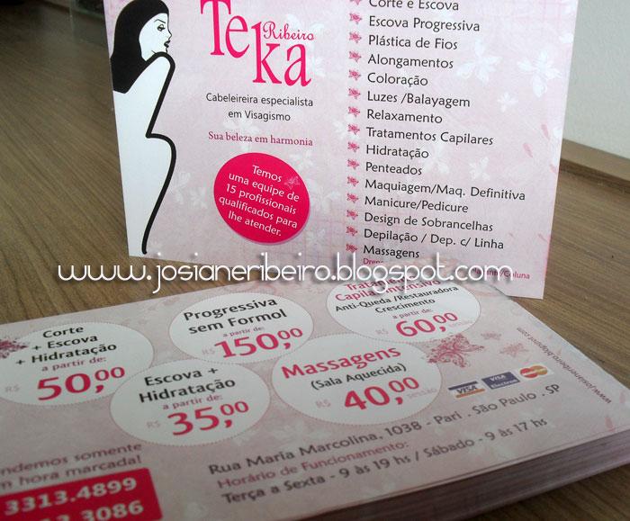 Suficiente Panfleto para Salão de Beleza - Teka Ribeiro | Josiane Ribeiro BQ44