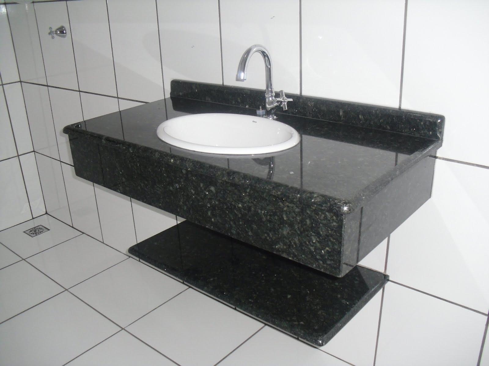 GRANITARIA -> Pia De Banheiro Granito Verde Ubatuba