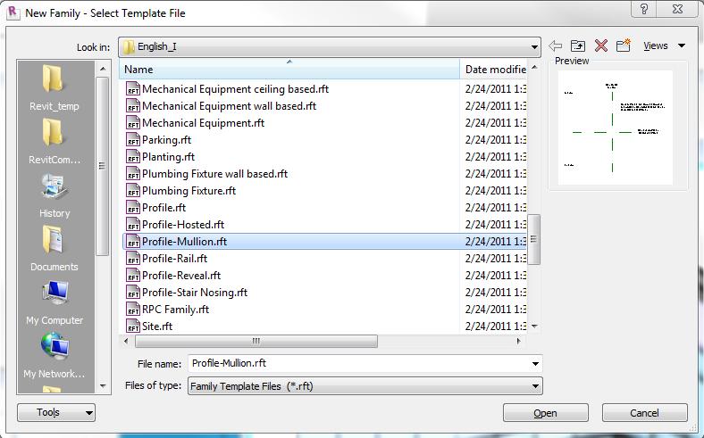Revit tutorial creating a custom mullion profile for Rft template
