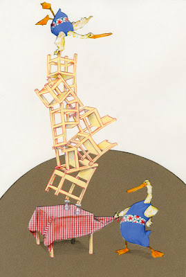 illustration by Robert  Wagt of two ducks balancing on chairs in the circus