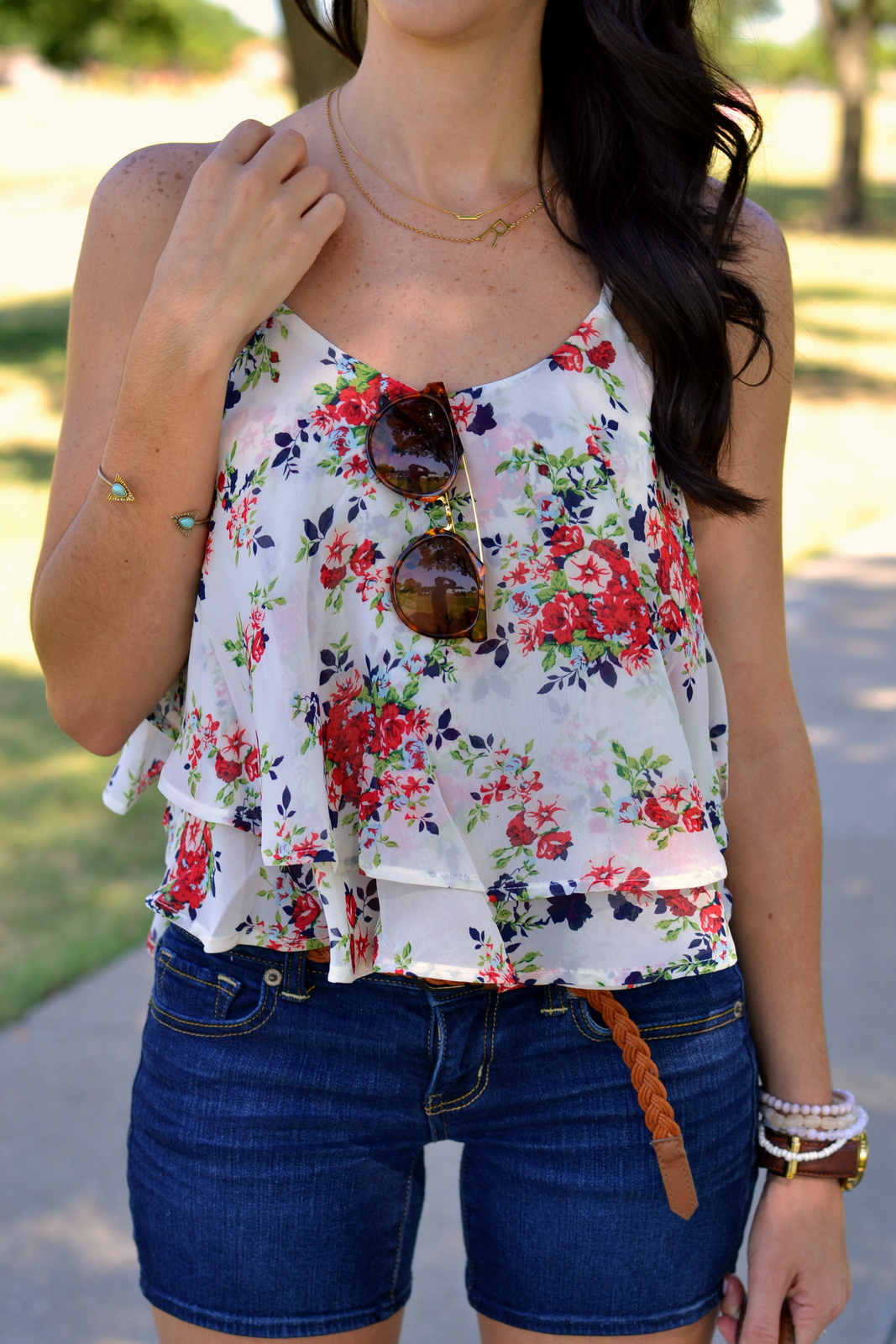 Summer Floral Chiffon Cami with Sideways Initial Necklace