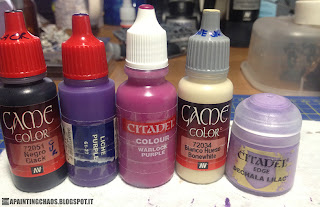 Vallejo Game Color Black, GW Liche Purple, GW Warlock Purple, Vallejo Game Color Bonewhite, GW Edge Dechala Lilac
