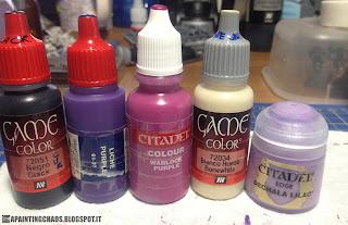 Vallejo Game Color Black, GW Liche Purple, GW Warlock Purple, Vallejo Game Color Bonewhite, GW Edge Dechala Lilac