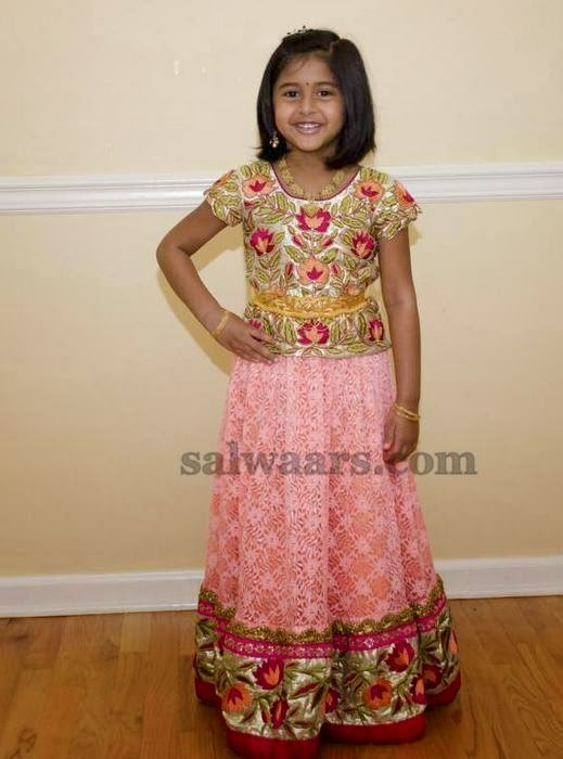 Baby in Light Pink Floral Skirt