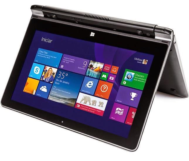 O notebook tem tela sensível ao toque de 10,1 polegadas que rotaciona sobre o eixo, no máximo em 300 graus