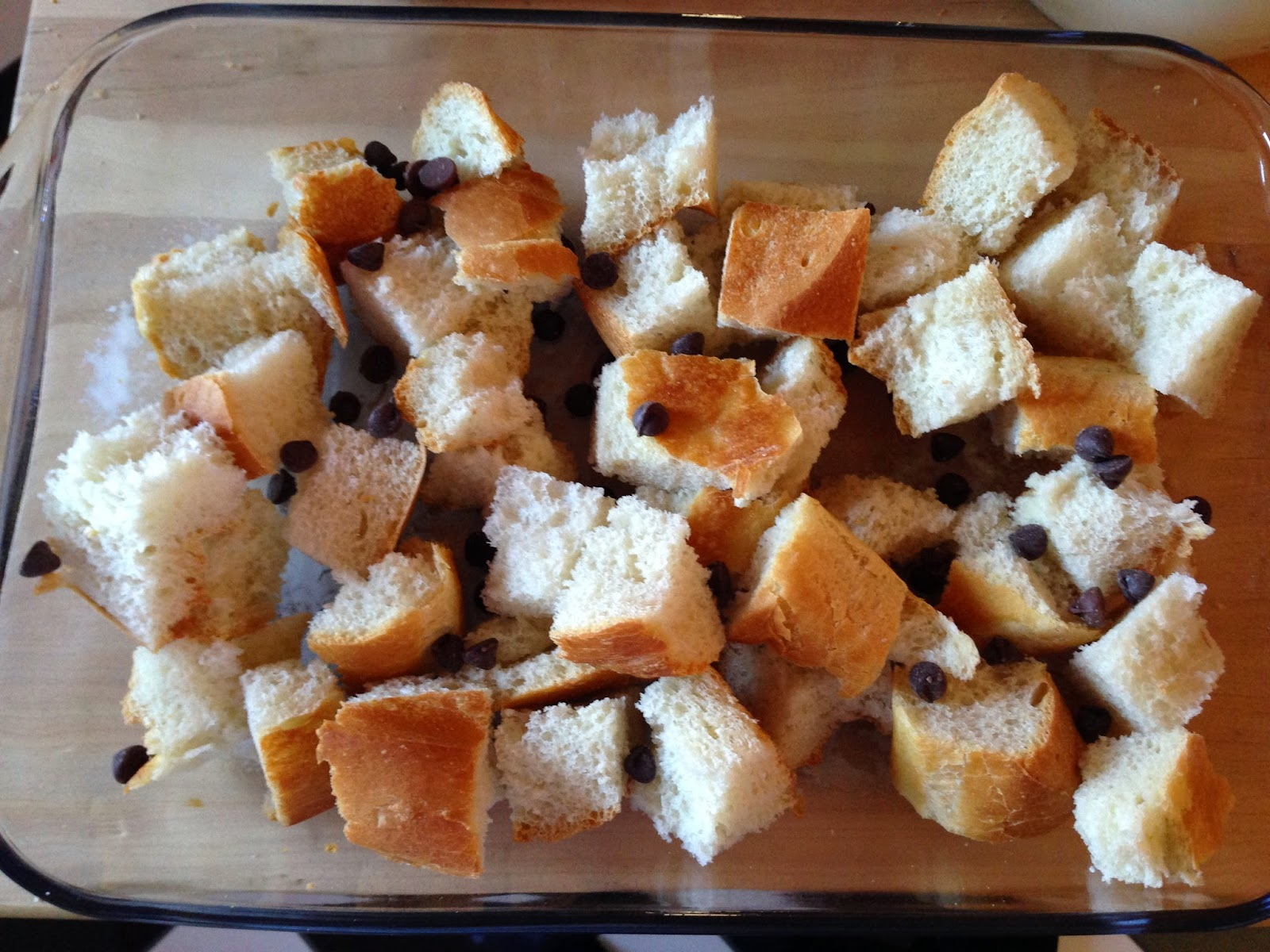 bread cubes with chocolate chips