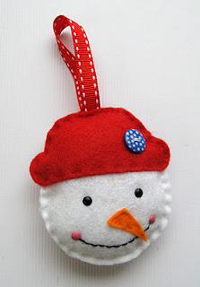 Decorazione Natale fai da te pupazzo di neve feltro