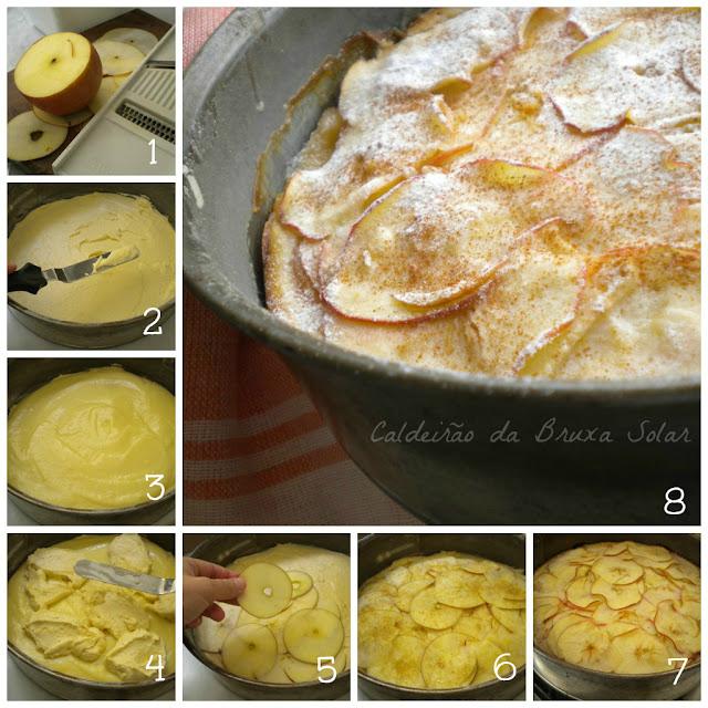 Bolo de creme e maçãs
