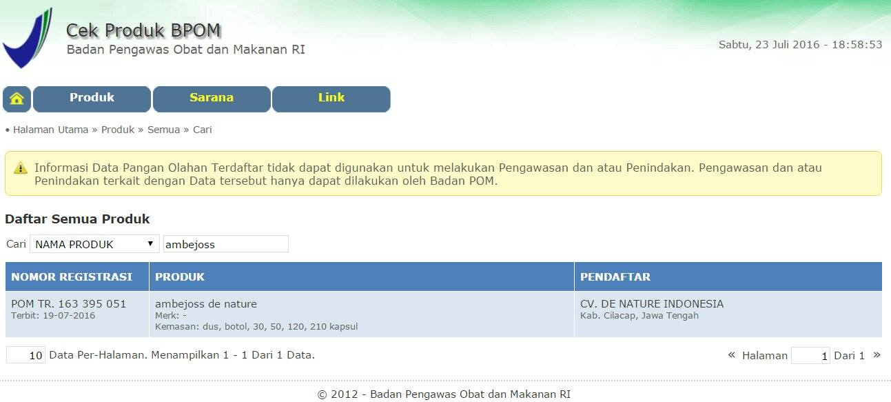 No. Registrasi BPOM