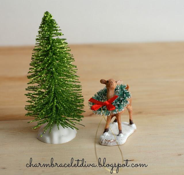 Bottle brush tree and mini deer for snow globe