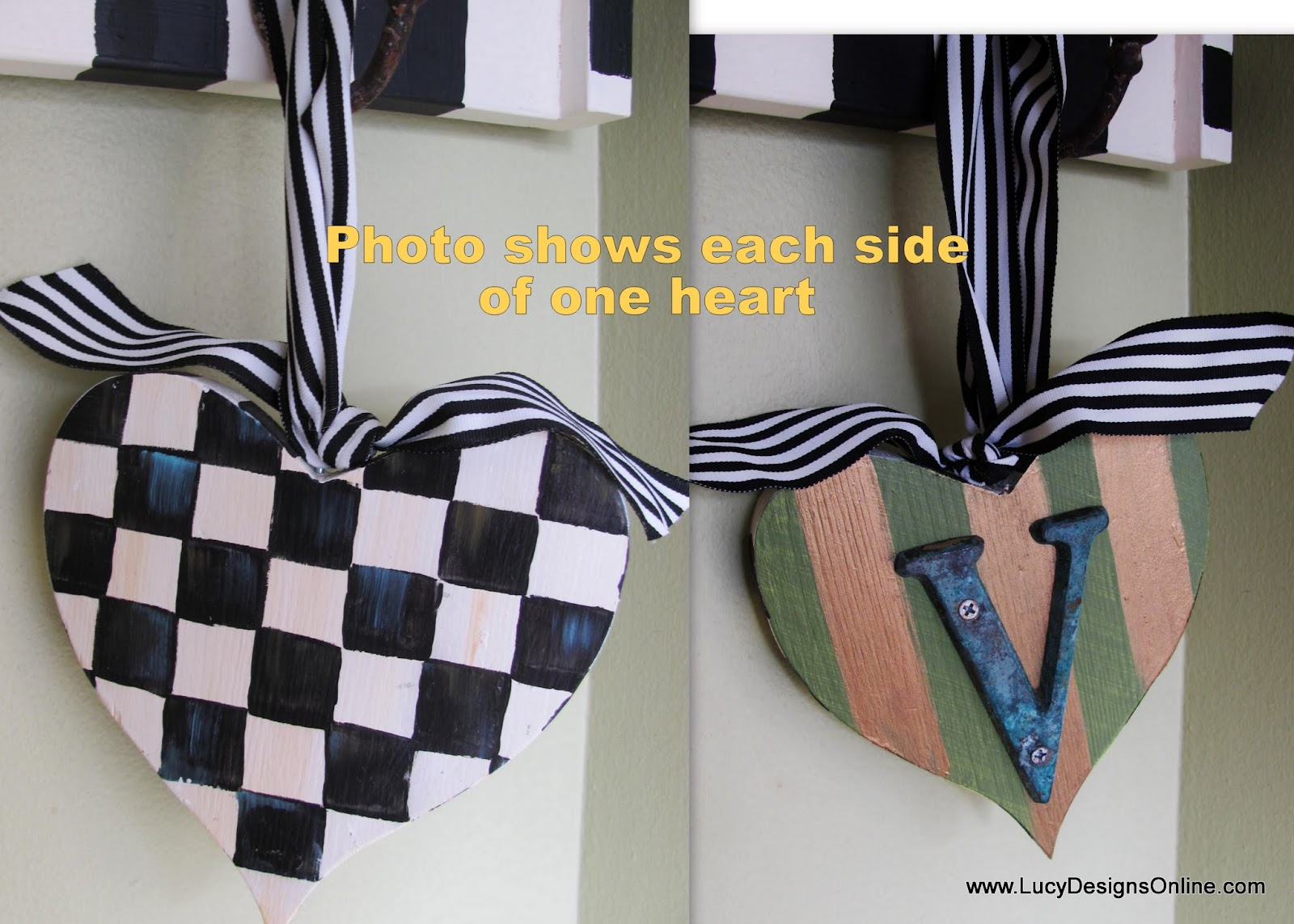 Metal heart ornaments - Striped And Black And White Checks Hand Painted Ornament