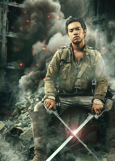 Plakat z filmu Attack on Titan na którym jest Takahiro Miura jako Jean Kirschtein