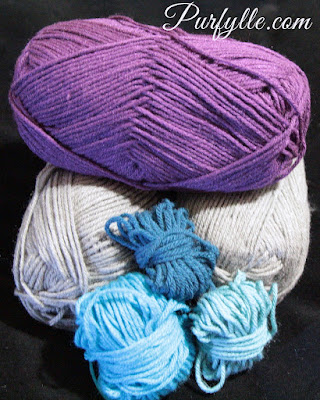 yarn colours: purple, grey, dark blue (mariner), aqua, laguana