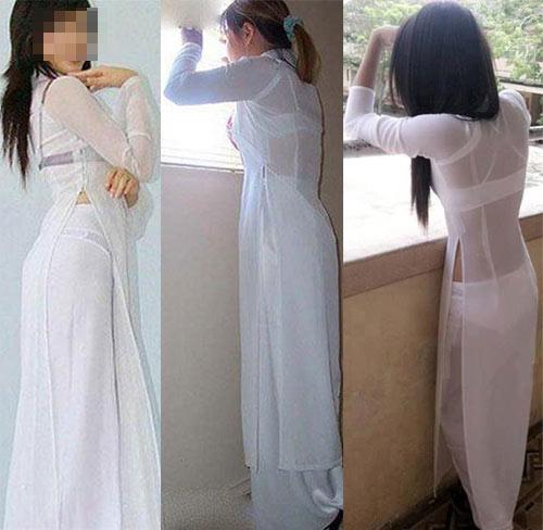 Nữ sinh với áo dài mỏng nhìn rõ đồ lót 22