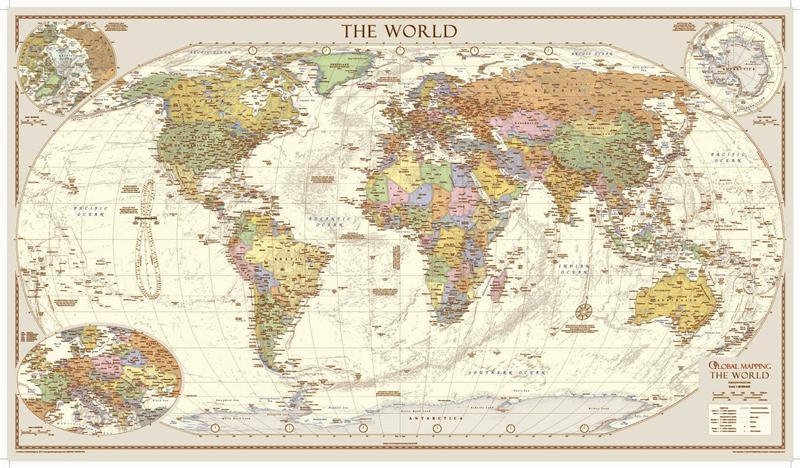 cartina planisfero vintage