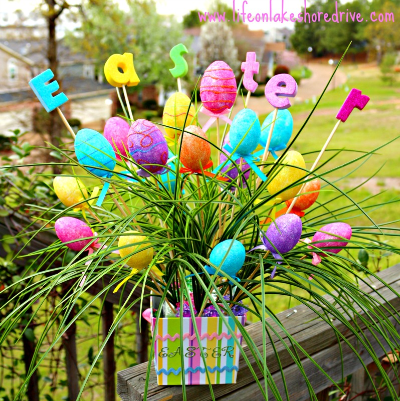 Diy easter egg spring decor arrangement life on lakeshore for Diy easter decorations home