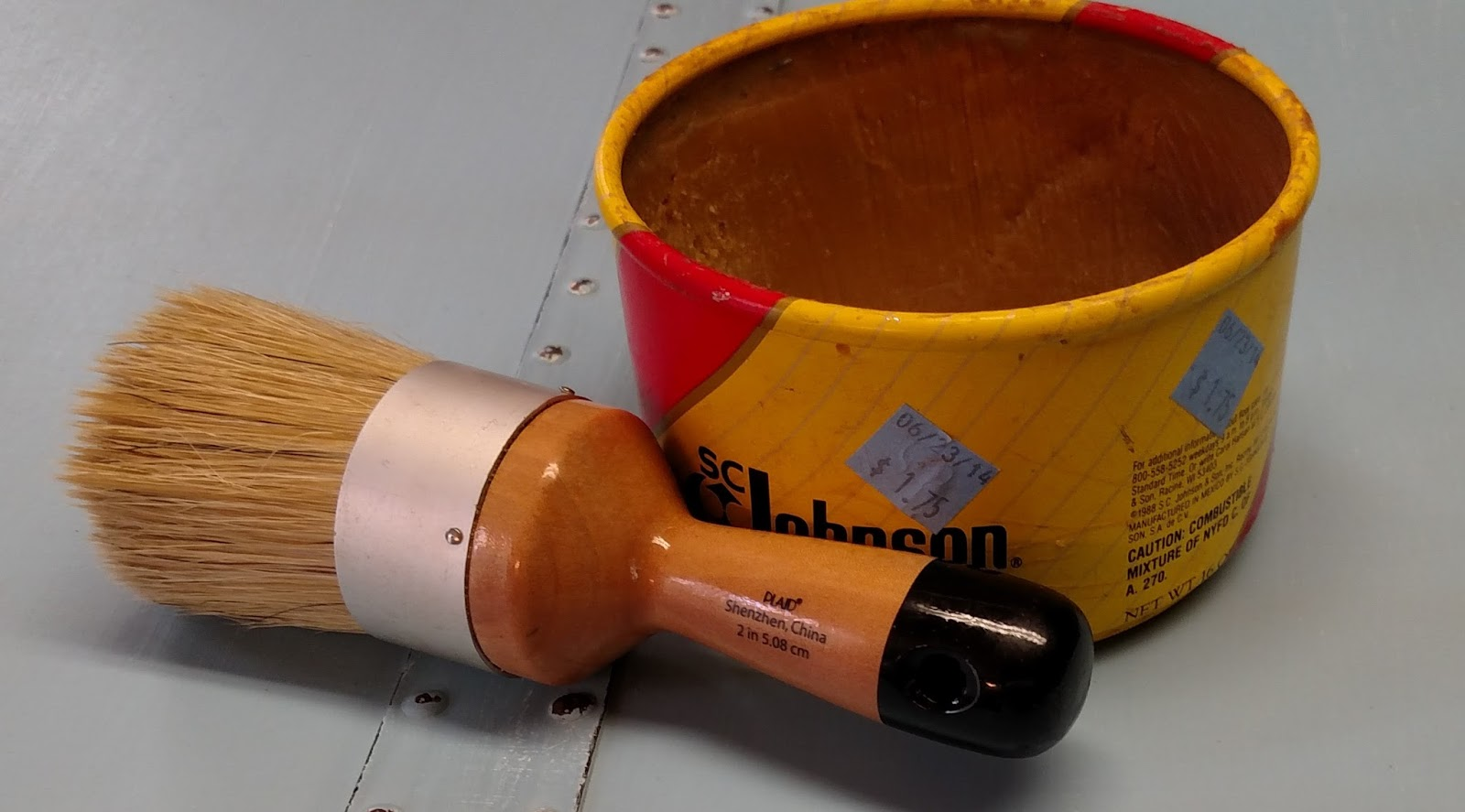 I Lucked Up And Found A Full Can Of SC Johnson Paste Wax At The Goodwill A  Few Months Back. The Brush Is By Plaid And Is A Large Wax Brush.