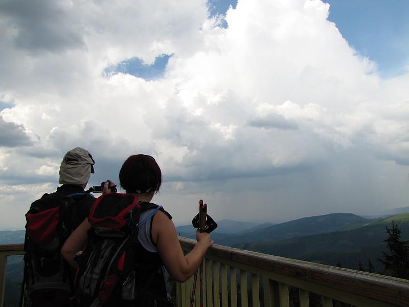 Barania Góra (1220 m n.p.m.). Na wieży widokowej.