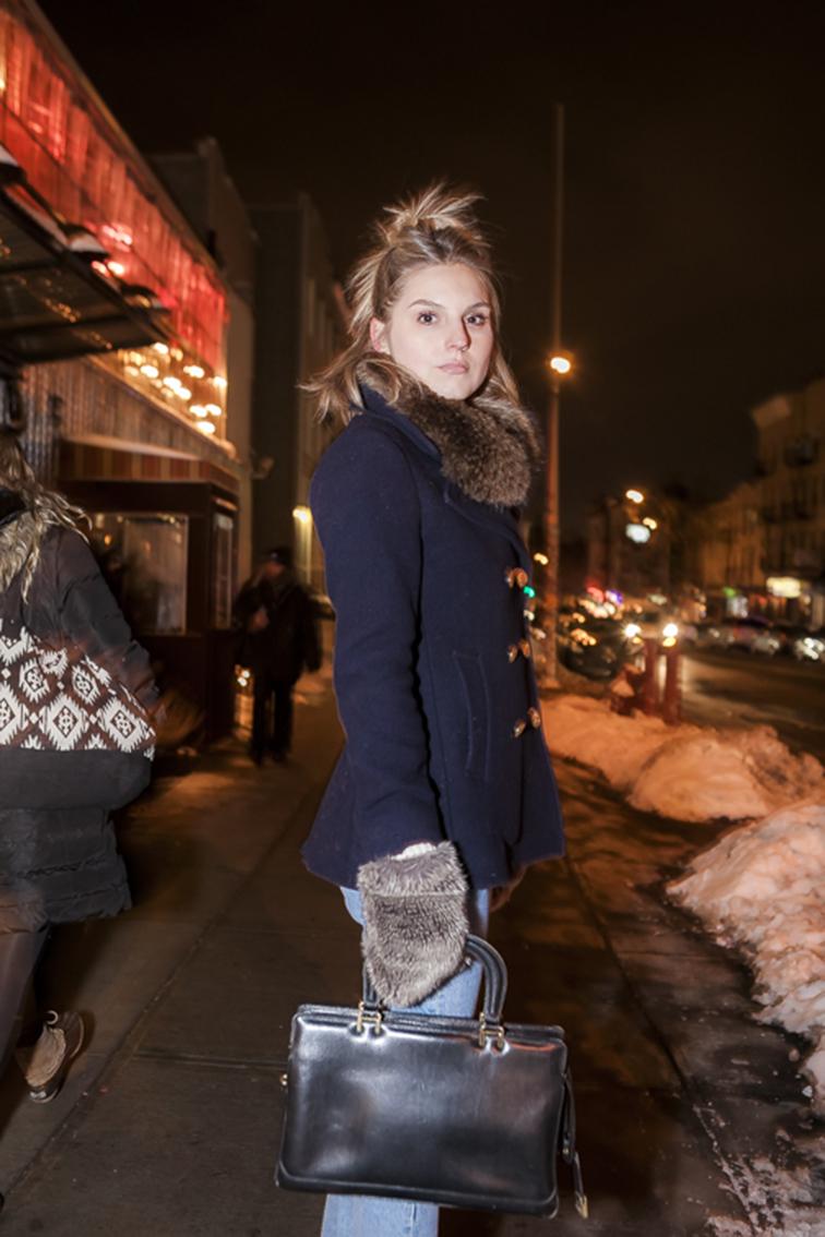 Nighttime in Brooklyn, fur collar