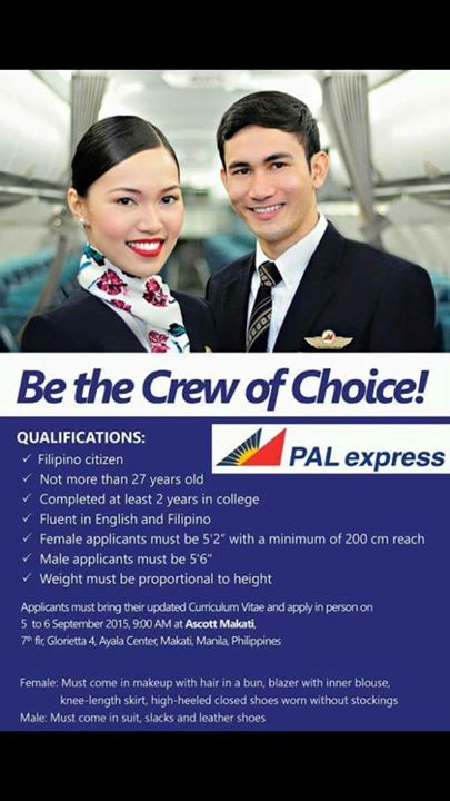 para sa mga matatangkad and gifted ang fez social butterflies na masisipag and customer service oriented apply na - Apply For Stewardess Job