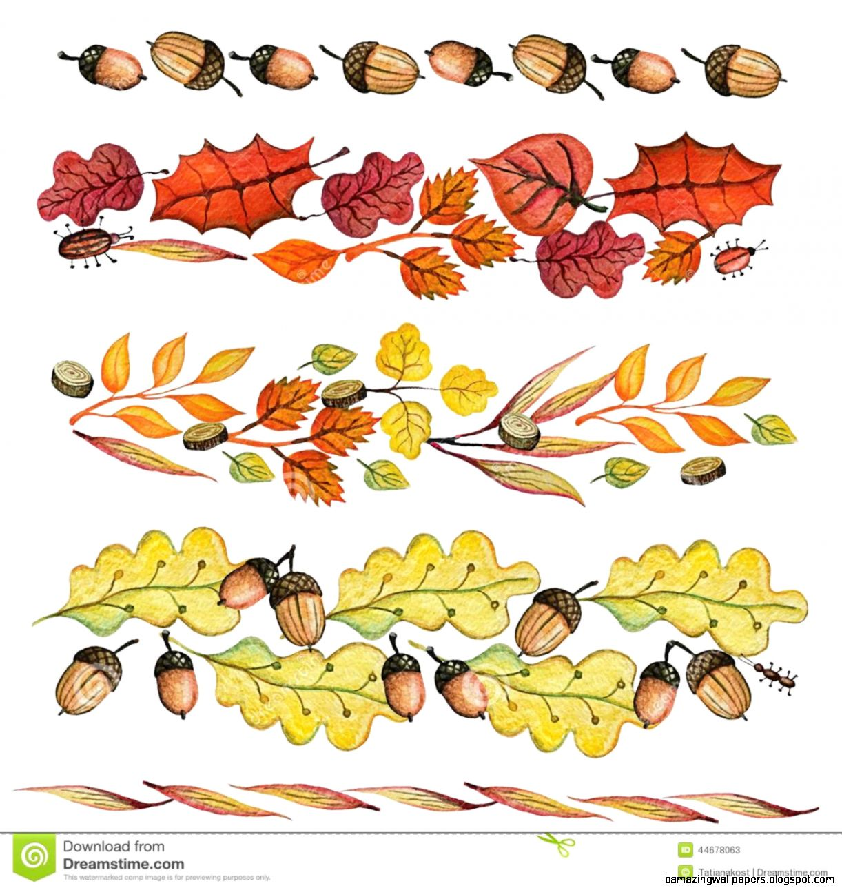 Watercolor Autumn Leavesacorn Border Set Stock Illustration