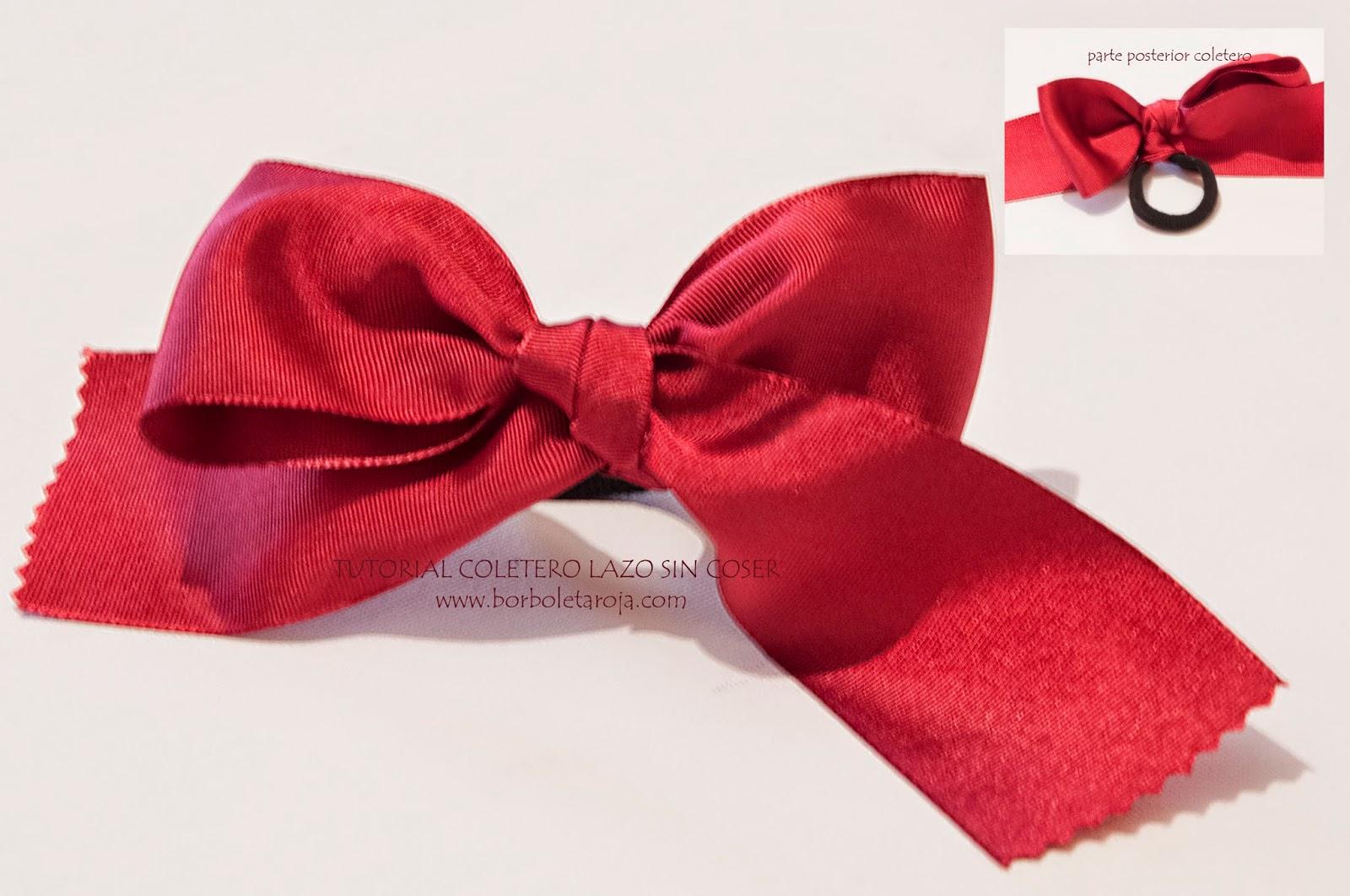Borboleta roja tutorial coletero lazo sin coser como - Como hacer adornos para el pelo ...