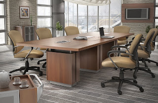 Powered Conference Table and Modern Chairs