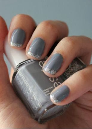 Gray Mani With Silver Tips