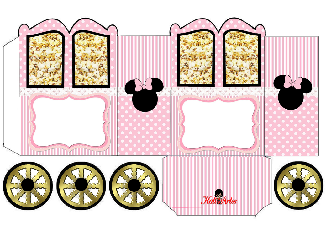 Minnie in Pink: Princess Carriage Shaped Free Printable Box.