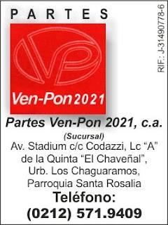 PARTES VEN-PON 2021, C.A. en Paginas Amarillas tu guia Comercial
