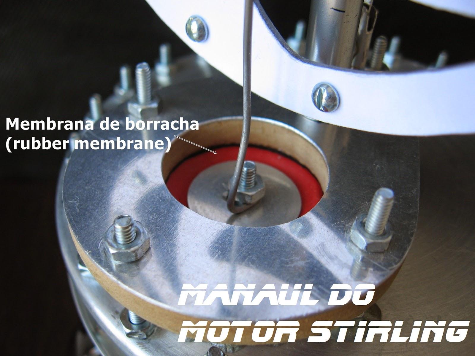 Motor Stirling Gama caseiro LTD, pistão de trabalho feito com balão
