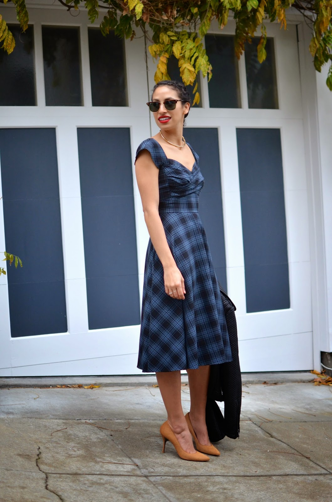 SF style, Stop Staring!, Think PR, SF, holiday plaid, BCBGMaxAzria, Bloomingdales, J. Crew, Donald Pliner, Stila Beso 10, Heidi braids, feminine vibe, ladylike dress, vintage silhouette