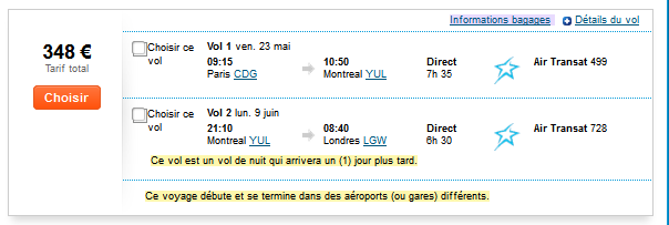 Montréal Paris low cost