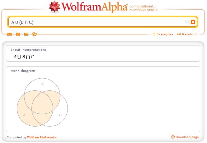 http://www.wolframalpha.com/input/?i=A+%E2%8B%83+%28B+%E2%8B%82+C%29
