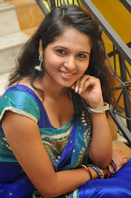 Jayanthi Rajput in Spicy Blue Saree Must See Beauty and Designer Saree