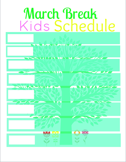 march break kids schedule printable