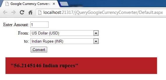 How To Make Google Currency Converter JSON API Example Using jQuery in c# And VB Asp.net