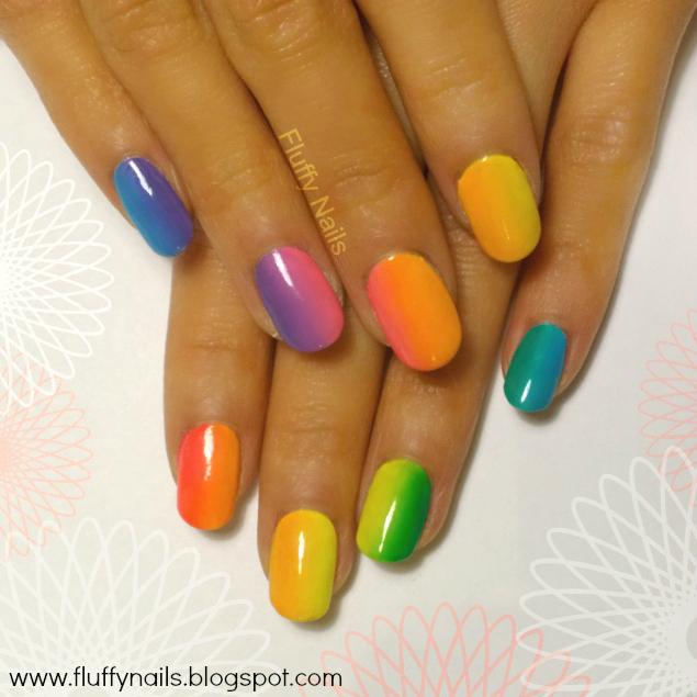 fluffy nails nail art d grad arc en ciel fondu parfait rainbow ombre nails perfect gradient. Black Bedroom Furniture Sets. Home Design Ideas