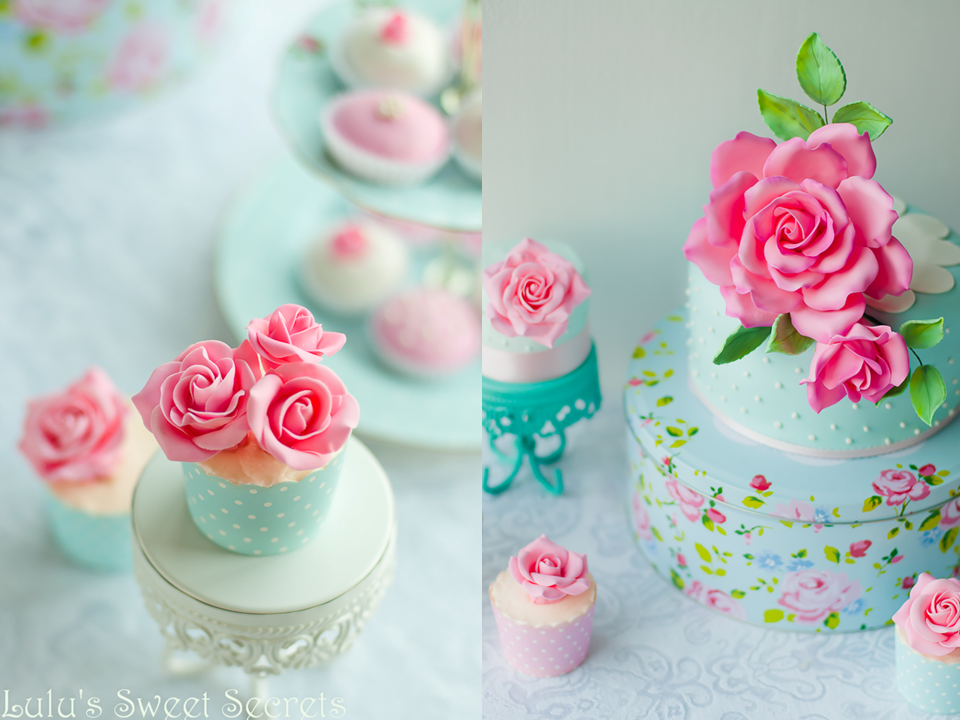 White Chocolate Cupcakes with Rose Buttercream