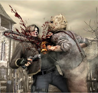 neck pain, leatherface, leon kennedy, that hurts, bloody